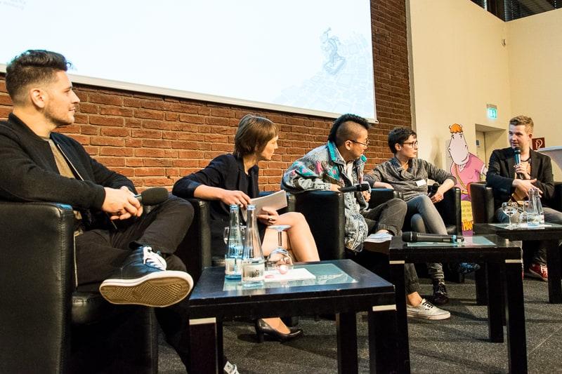 v.l. Simon Krätschmer, Rocket Beans TV, Anna Hoff, bpb, Blumio, Rap da News!, Tim Gailus, KiKa; Foto: Gerd Metzner